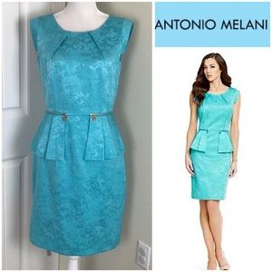 Antonio Melani Sheath Peplum Dress Sleeveless Sz 6